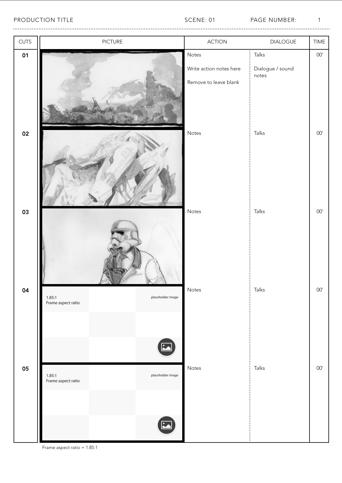 Apple Pages template for 1.85:1 anime storyboards