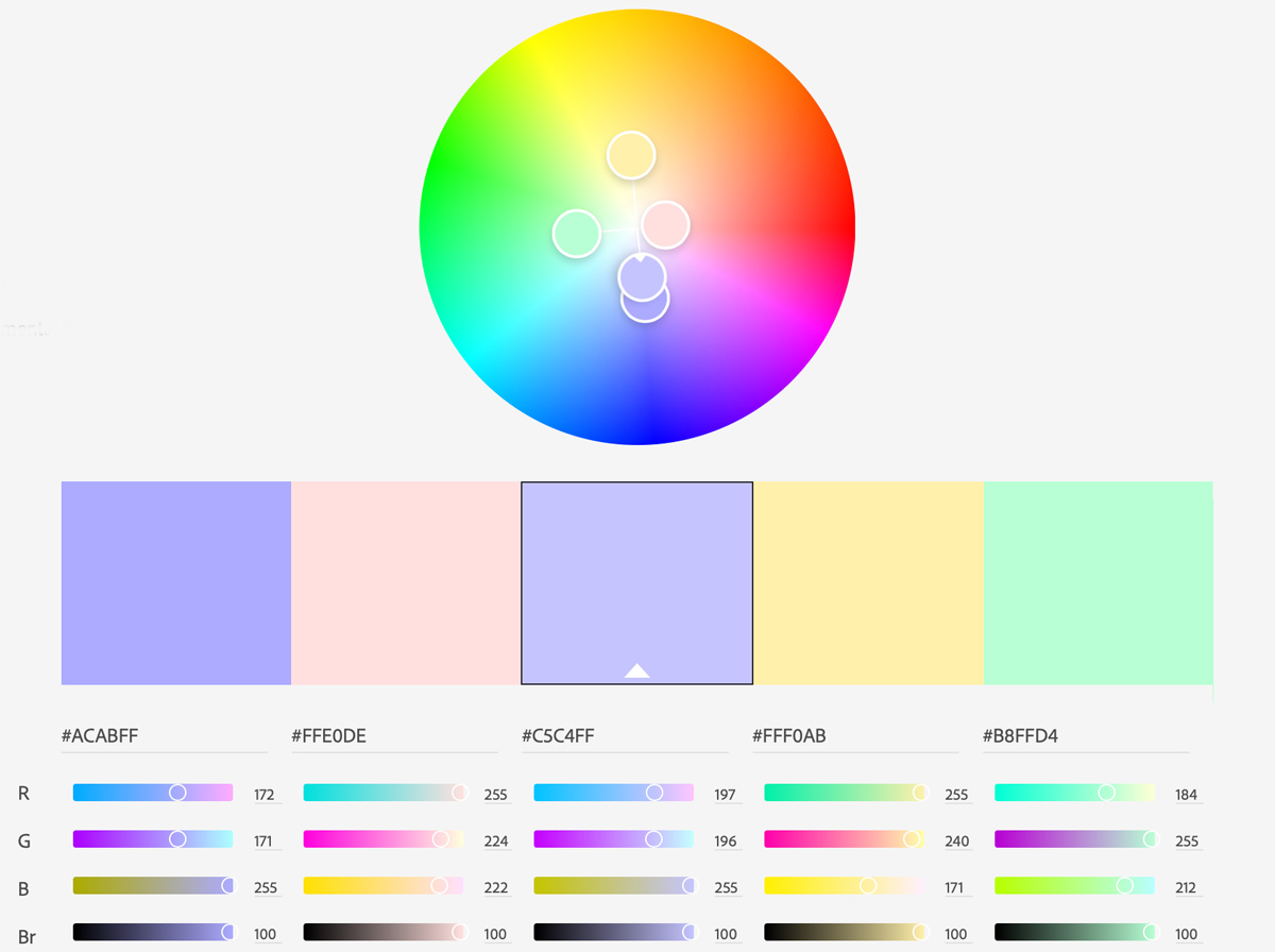 Example of color palettes and hex codes