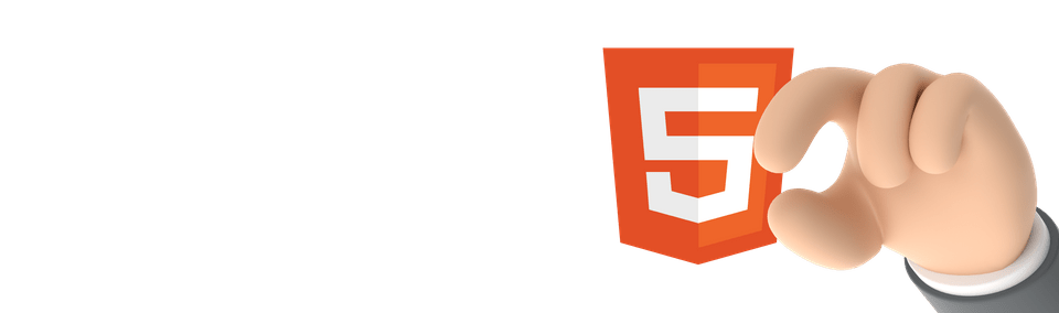 Orange HTML5 logo beside hand gesturing small