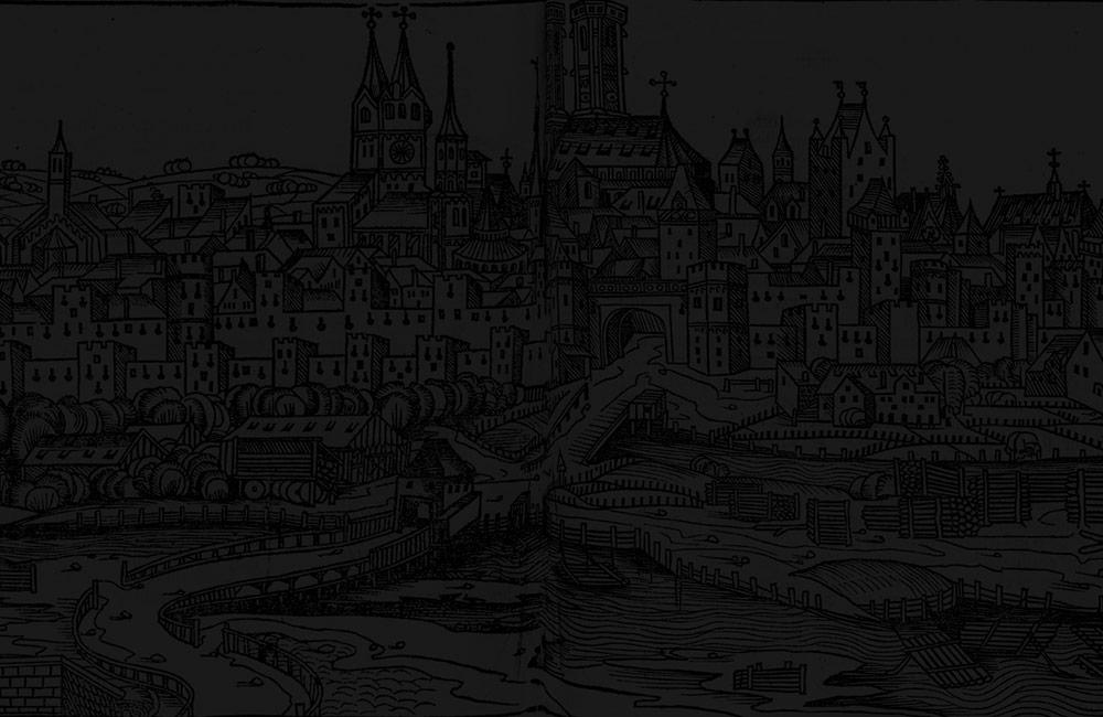 Dark medieval city drawing