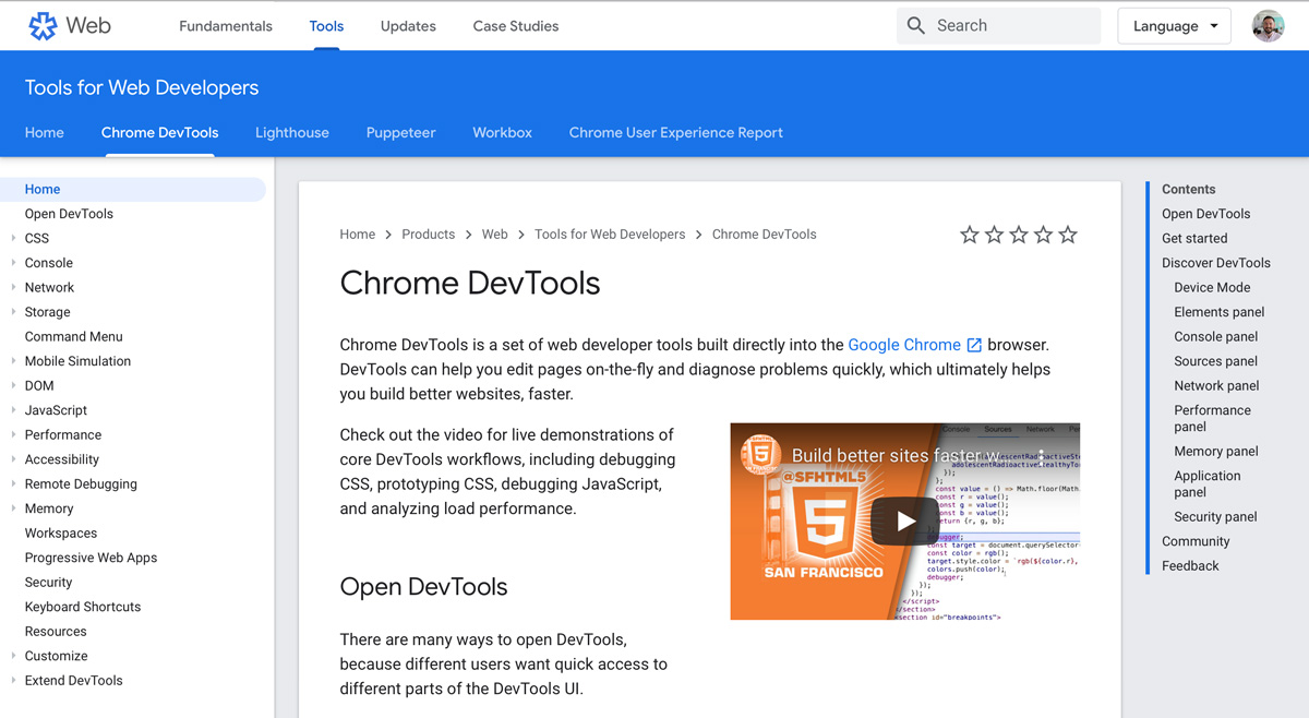 Chrome Developer Tools jump page