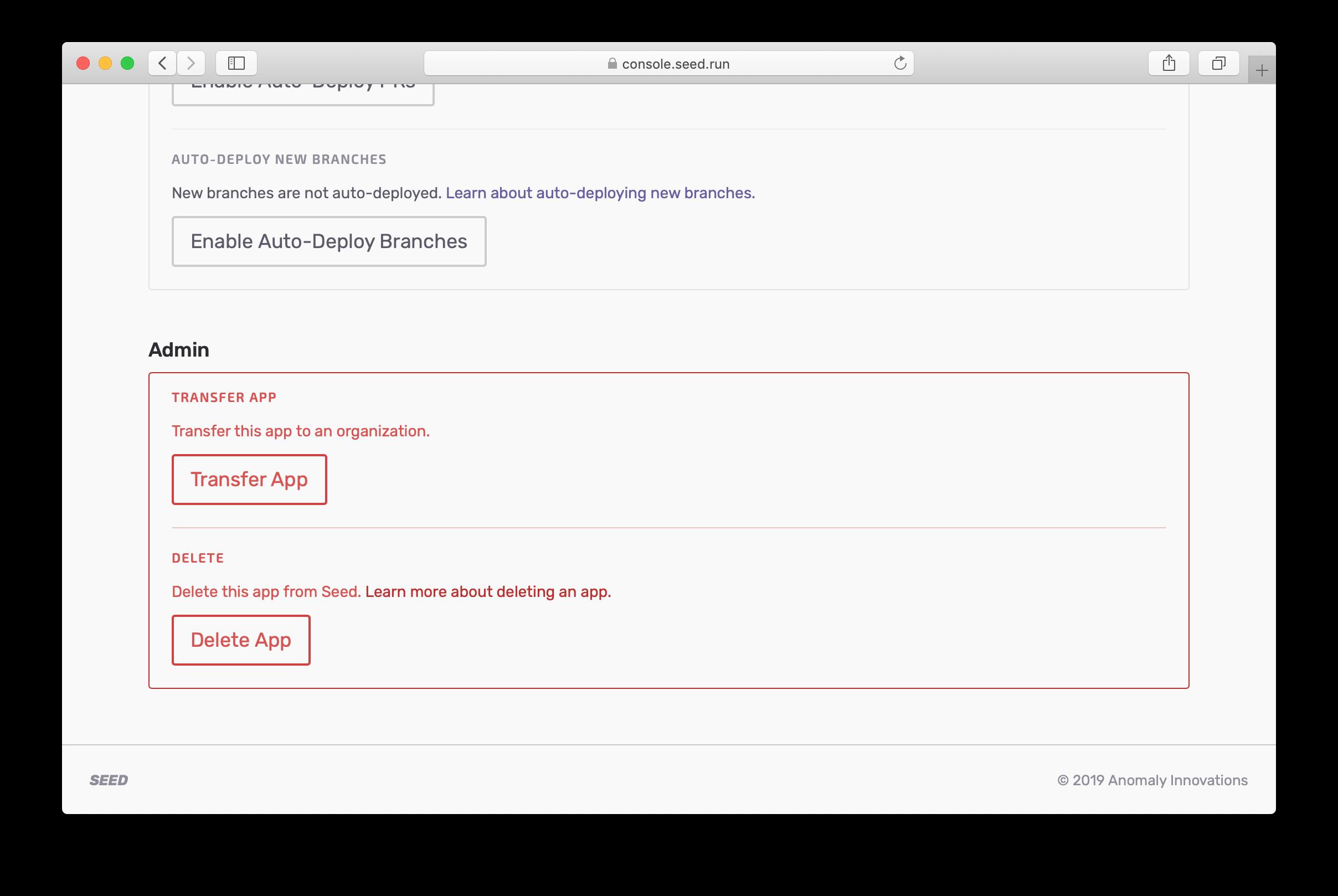 Delete panel in app settings