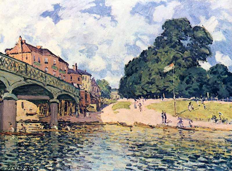 'Bridge at Hampton Court', painted by Alfred Sisley in 1874