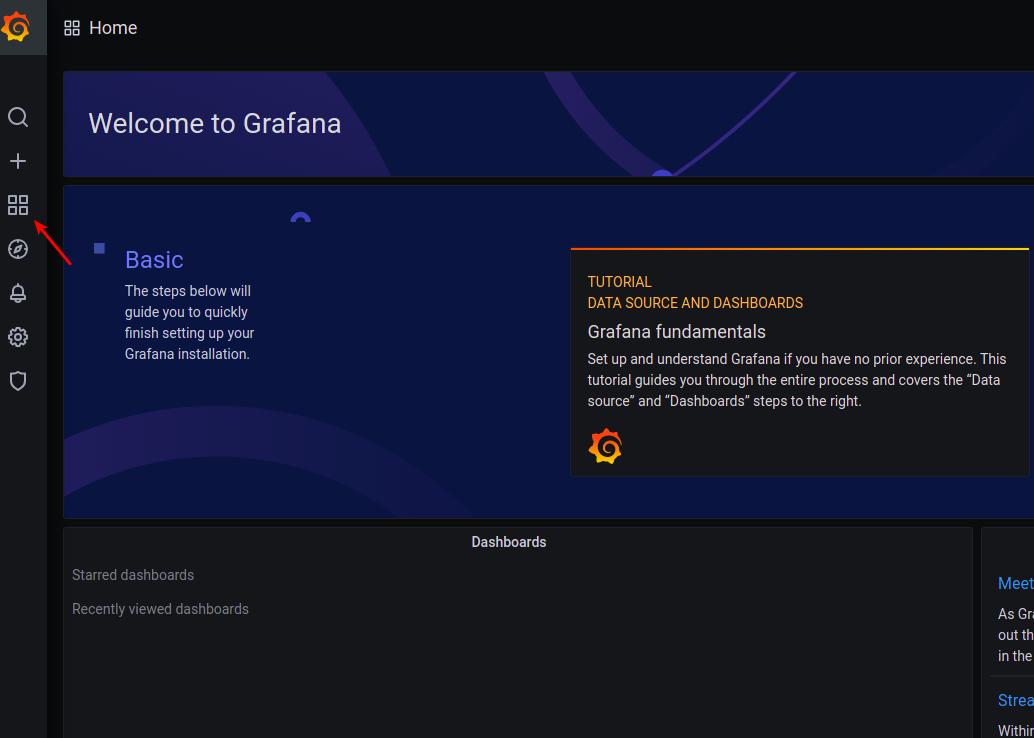 Grafana welcome screen