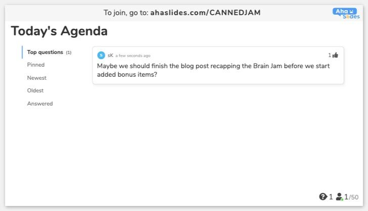 AhaSlides Poll - Today's agenda