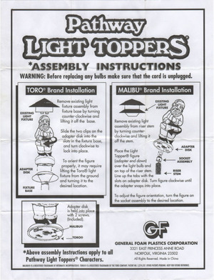 General Foam Plastics Pathway Light Toppers Instruction Manual preview