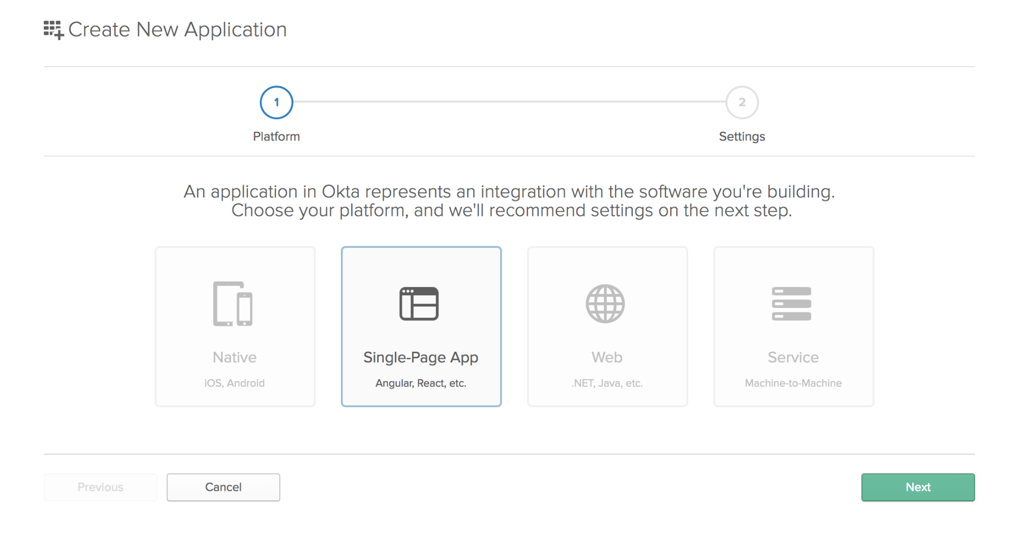 Create a new Single Page Application in Okta
