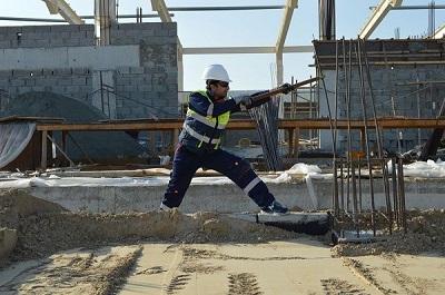 iron worker pulling something