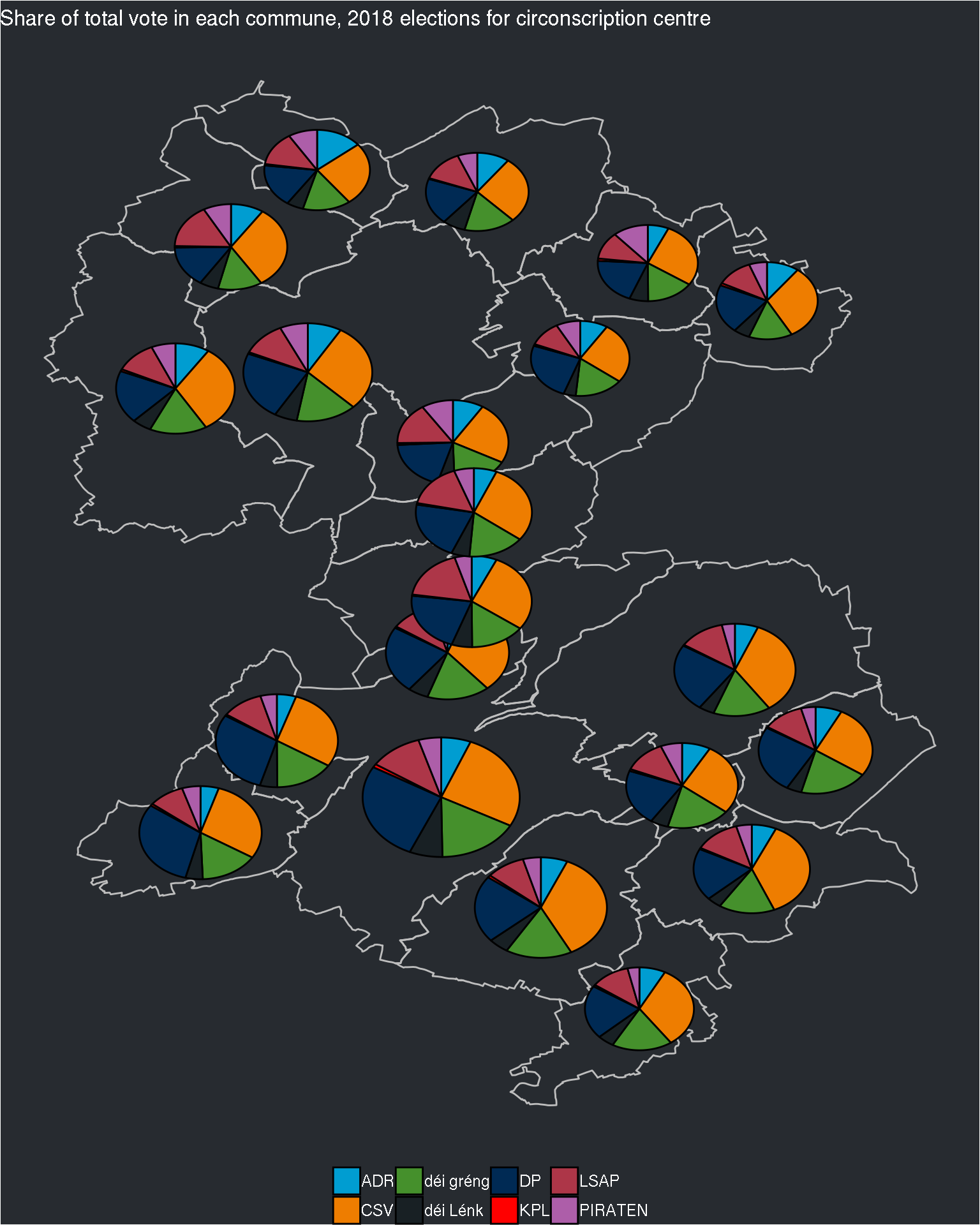 Maps with pie charts on top of each administrative division