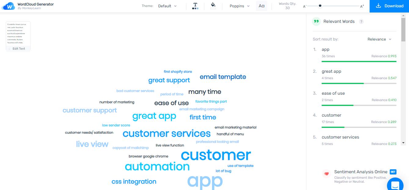 Create a word cloud using MonkeyLearn's word cloud generator