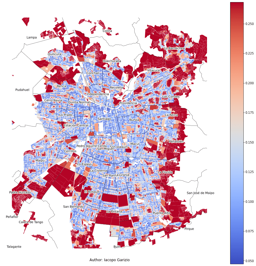 Average distance to the nearest stop or station in Santiago