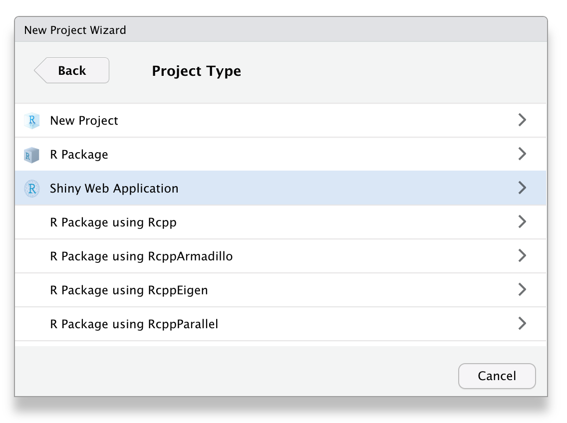 To create a new Shiny app within RStudio, choose 'Shiny Web Application' as project type