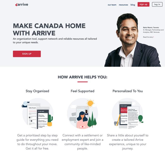 Arrive Homepage