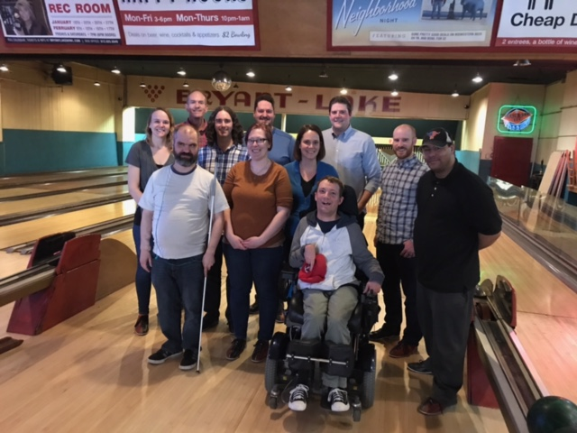 Accessible360 team members at bowling alley