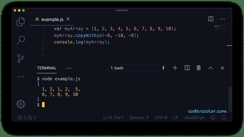 JavaScript copywithin example3