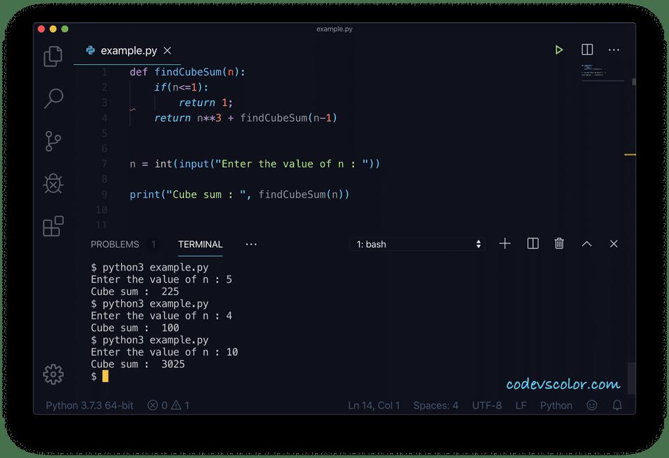 Python cube sum recursive