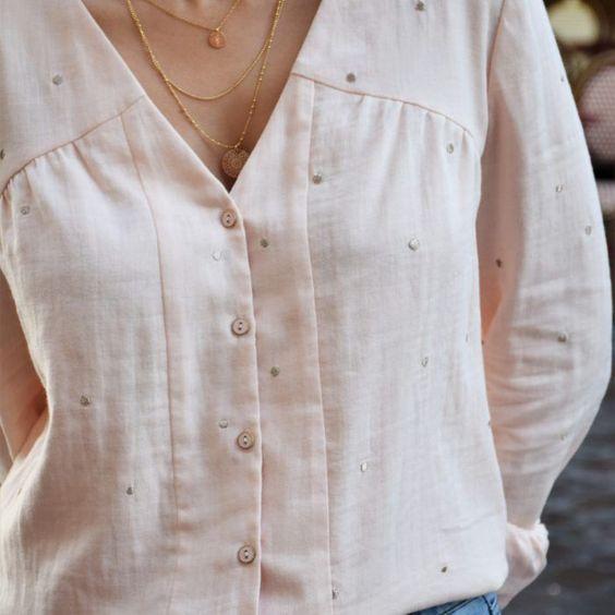 Chemise rose poudré à pinces