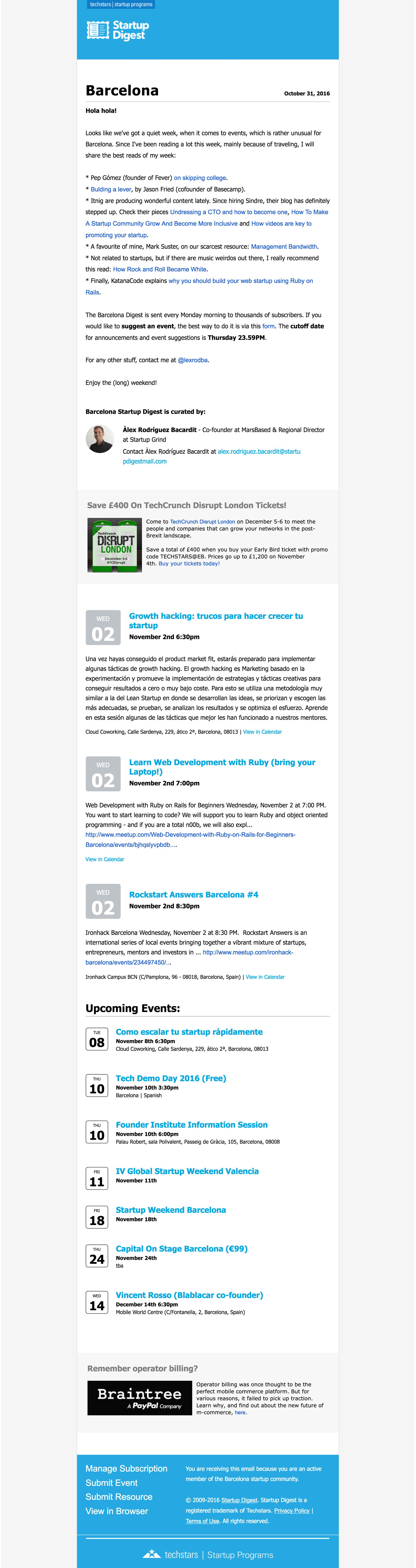Startup Digest newsletter