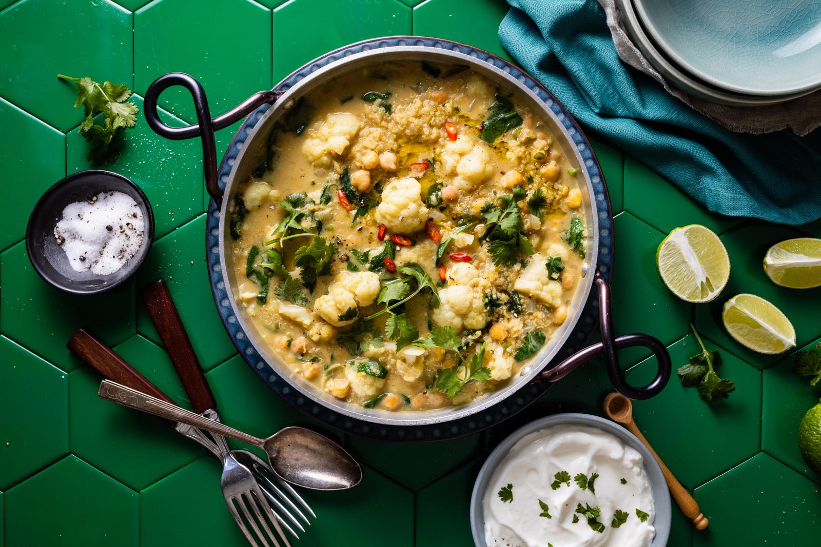 One Pot Cauliflower Dal and Quinoa Green Curry