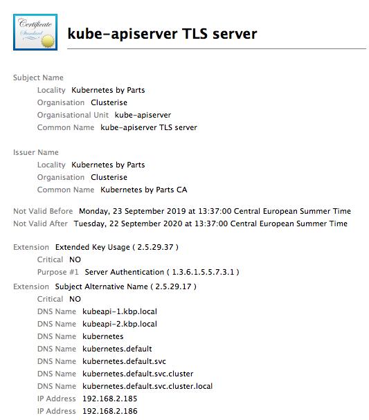 kube-apiserver cert for TLS server