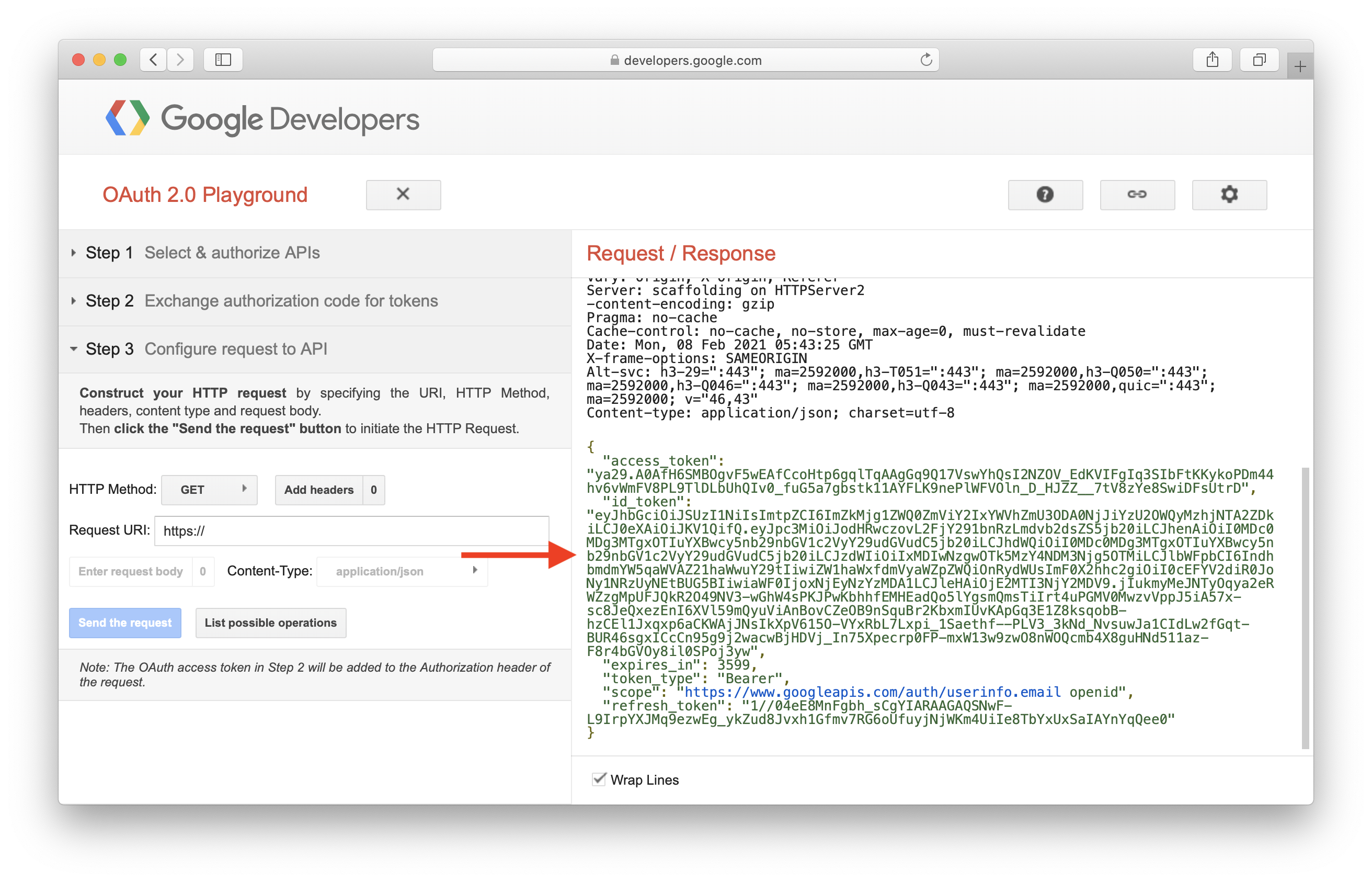 Copy access token for users logged in with Google
