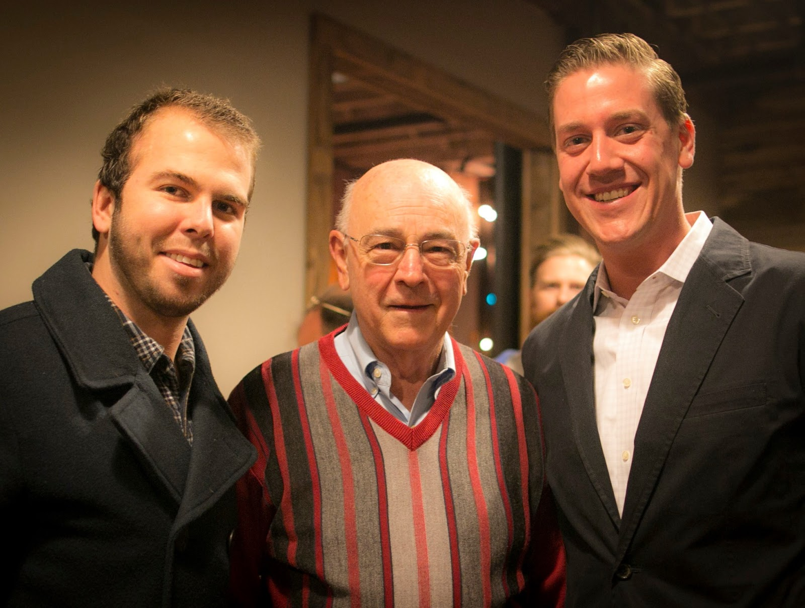 Caleb, Ron Fink (SCORE), and Mason Weeks (AWA Board Member) at a Thank You Event in 2014