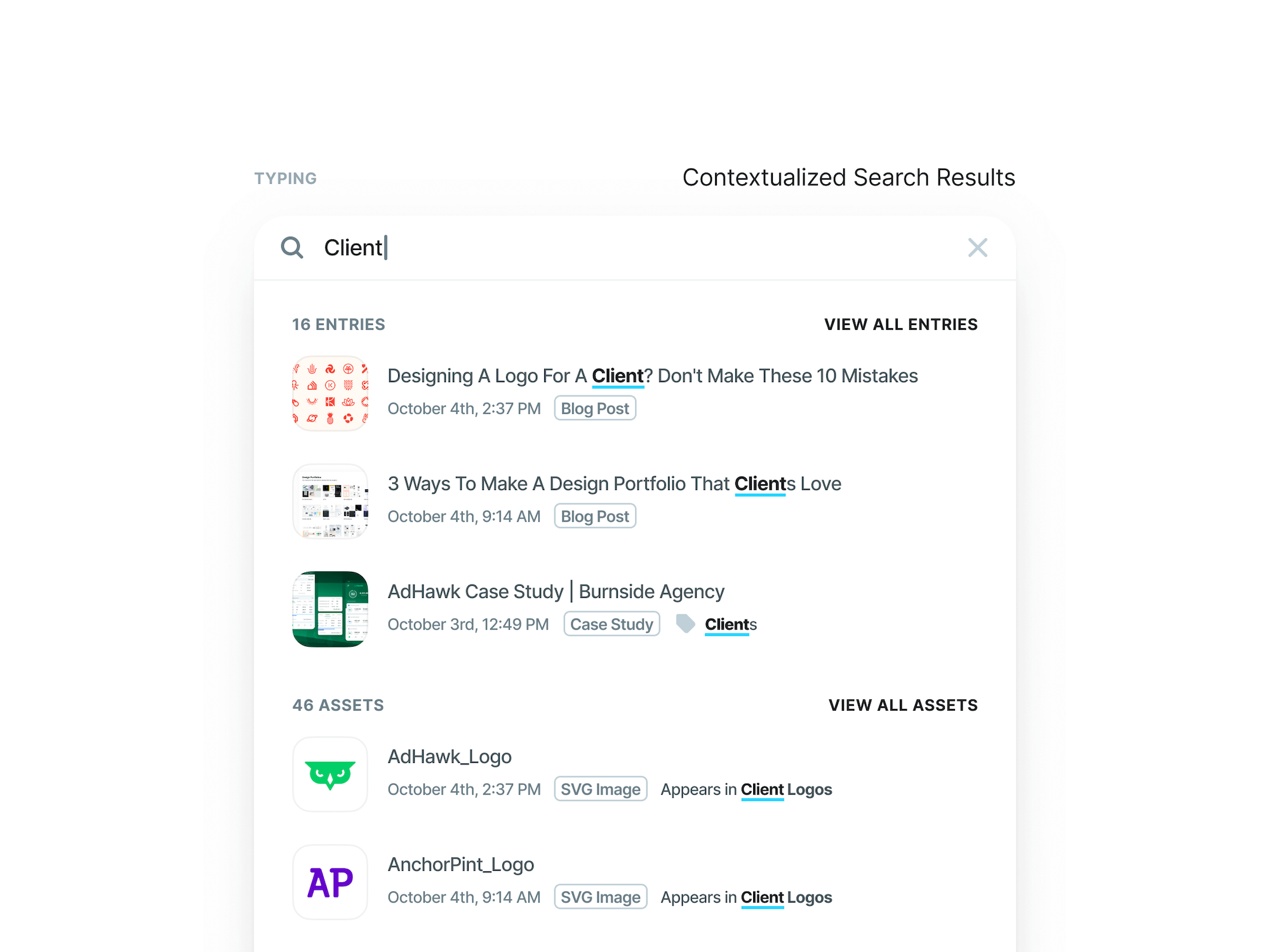 Contentstack CMS Design System - Contextualized Search