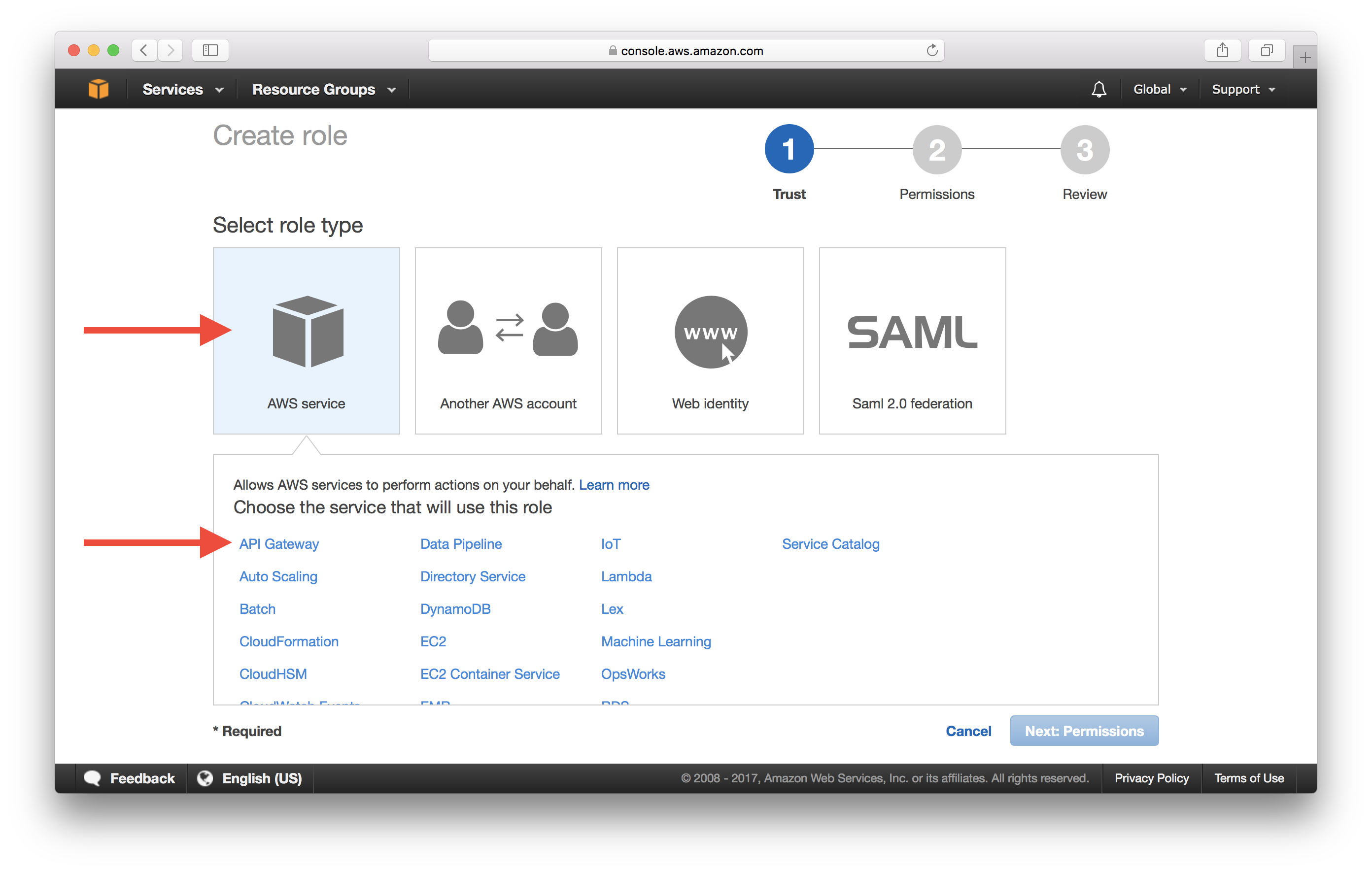 Select API Gateway from AWS services