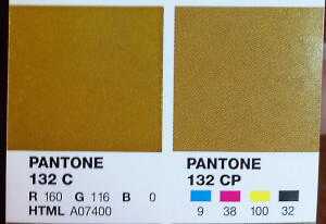 A Pantone book swatch, detailing RGB, CMYK, and HTML values