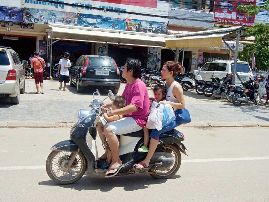 cambodia family scooter asia siemreap