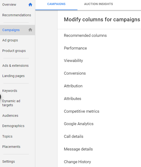 Columns for campaigns in Google Ads platform