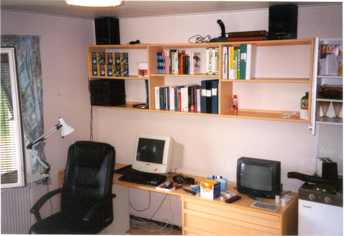Student room in yearly 21 century with 14 inch computer monitor and 14 inch TV