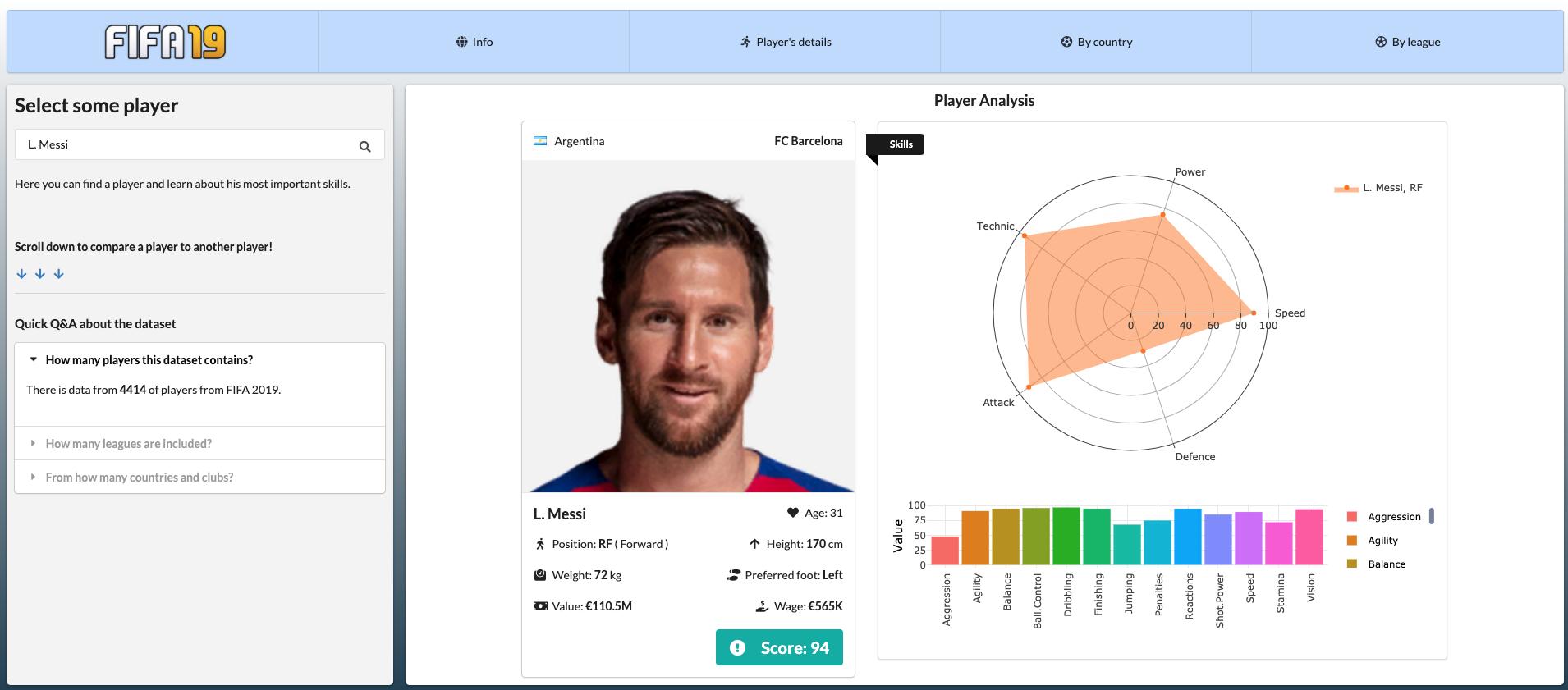 Screenshot from FIFA 19 app