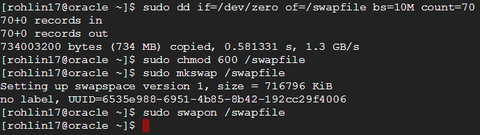 Setting up the swap file