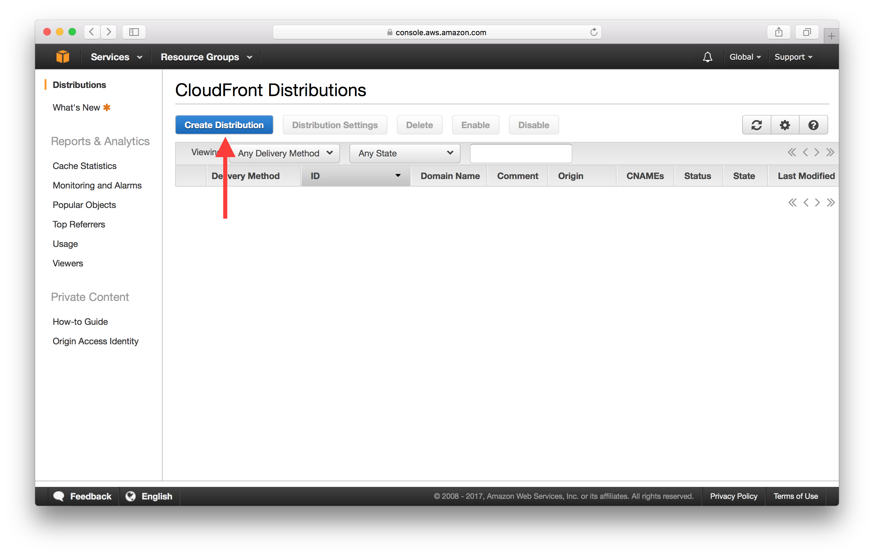Create AWS CloudFront Distribution screenshot