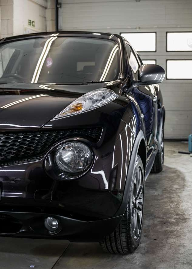 Black Nissan Juke with paintwork shine/gloss restored by polishing, paint correction and paint enhancement