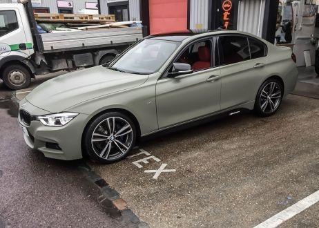BMW 3 series car vinyl wrapped in khaki green