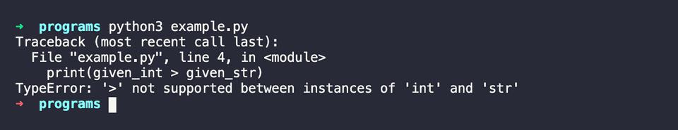 Python error string int compared