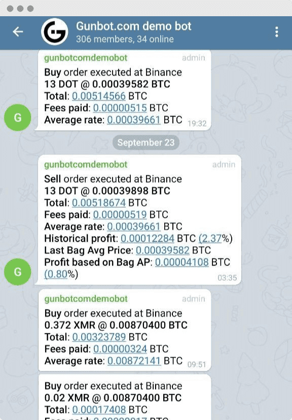 Telegram push notifications for every trade