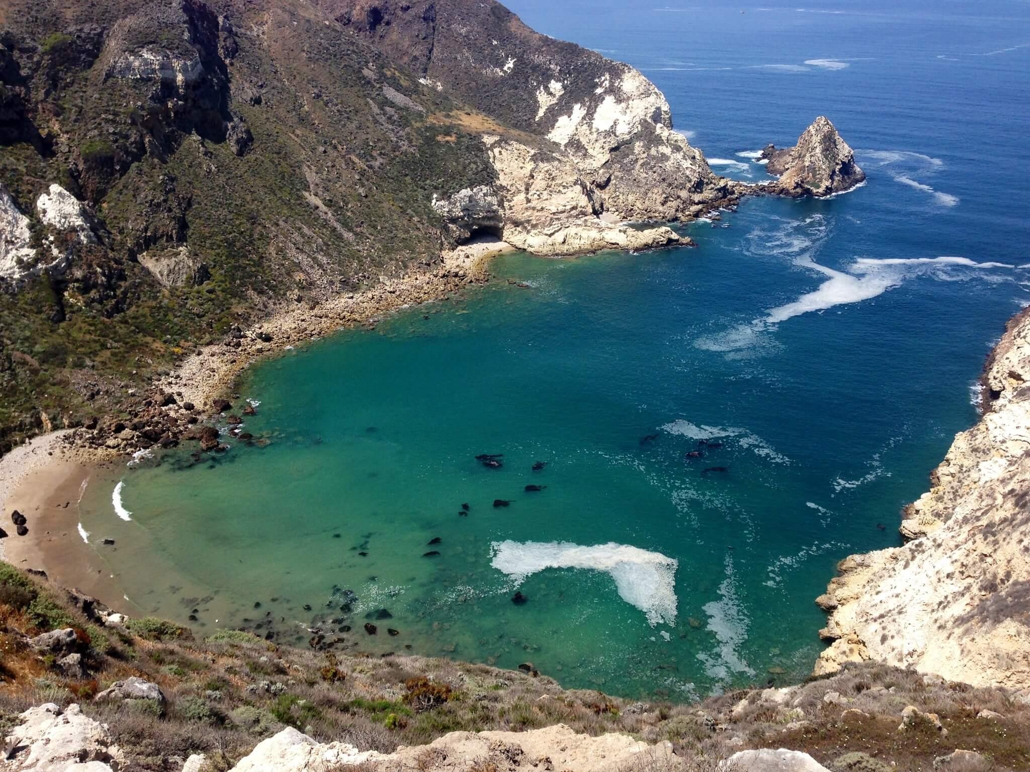 Pictured: Potato Harbor, a Santa Cruz Island cove near where the fire started.