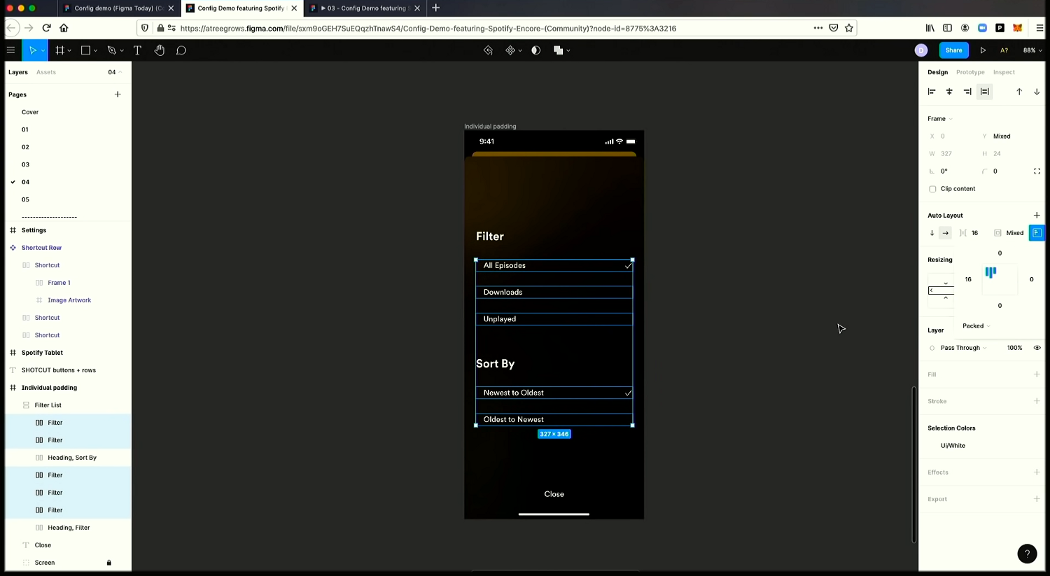 A screenshot of applying individual padding values with the new Auto Layout UI.