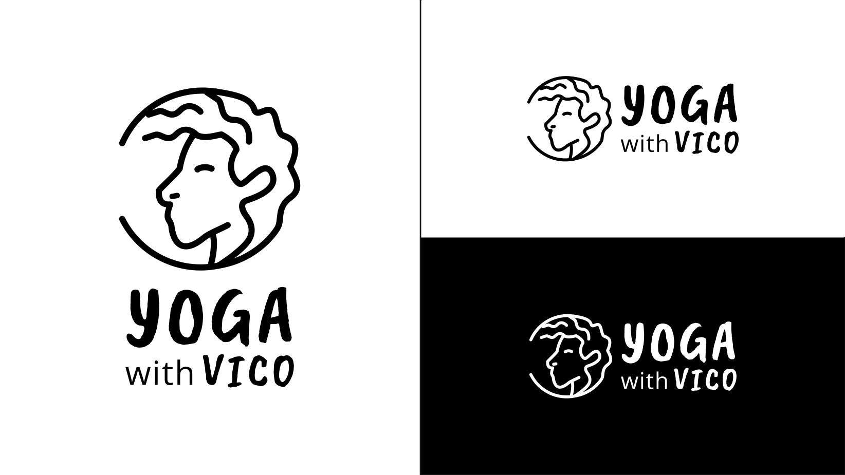Yoga with Vico alternative logo on black and white background
