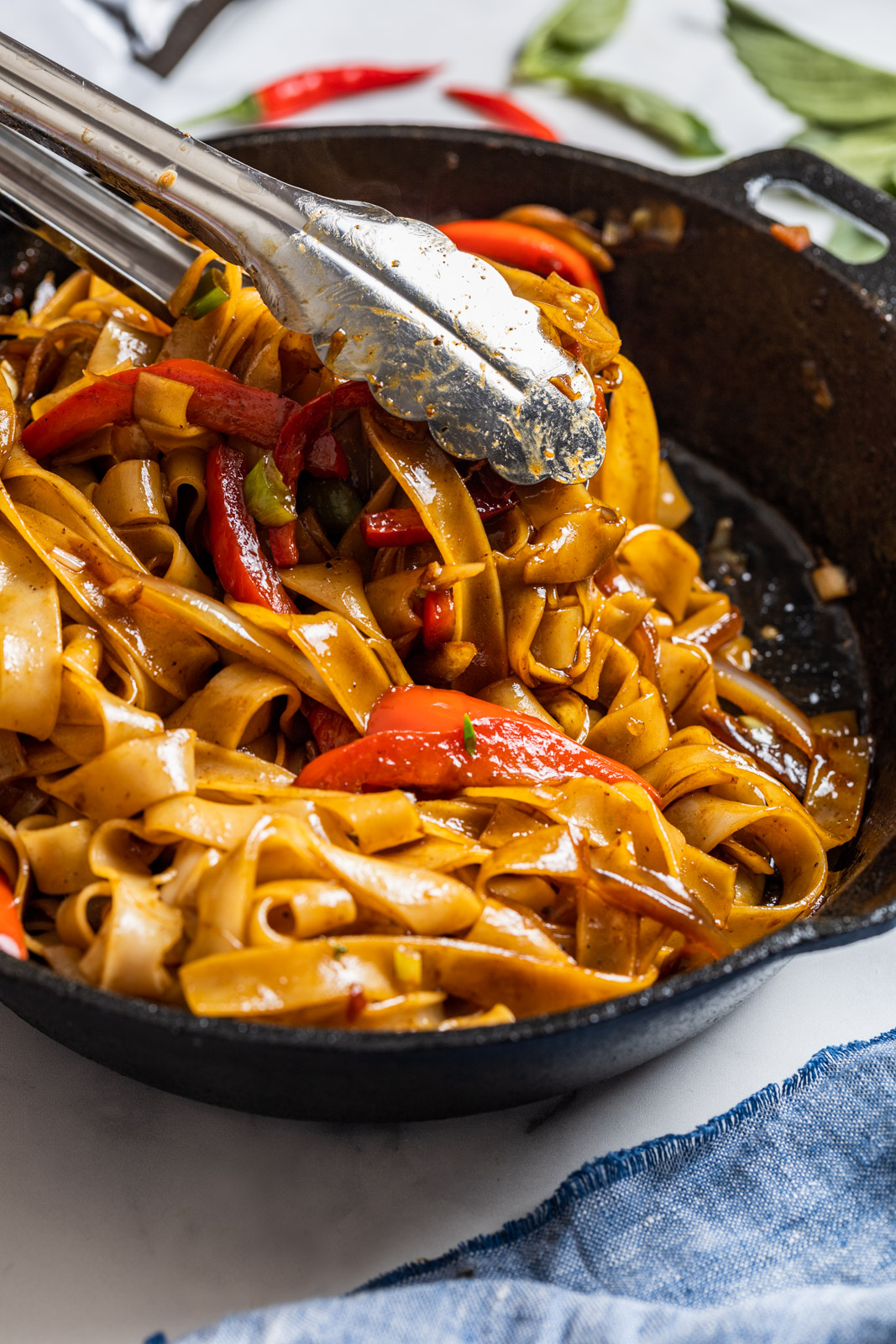 Thai Chili Yellowfin Tuna Steaks With Spicy Drunken Noodles (Pad Kee Mao)