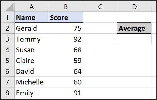 A simple Excel spreadsheet containing data for student names and test scores