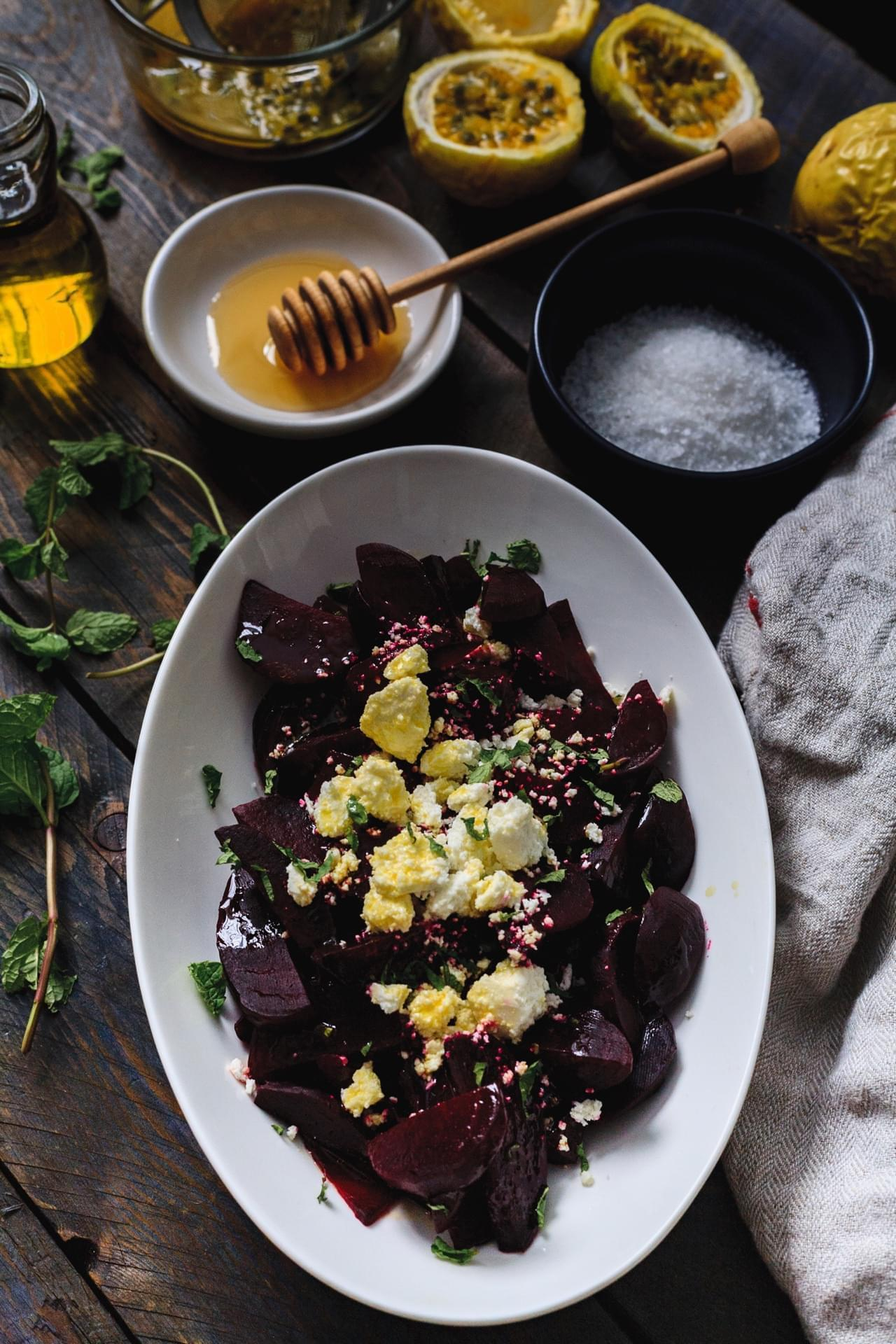 Beet salad with passionfruit dressing