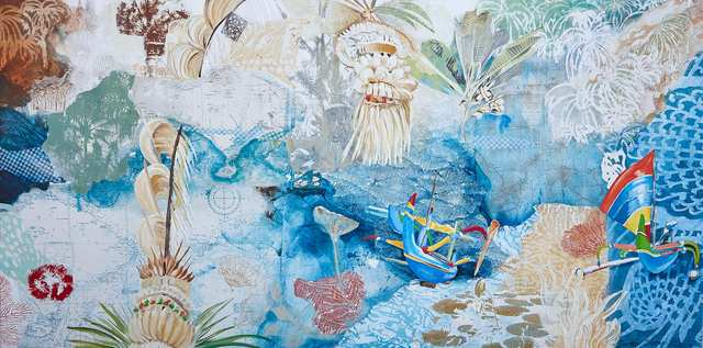 Wendy's Bali, acrylic marine-charts collage on canvas