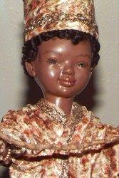 close up little African boy doll