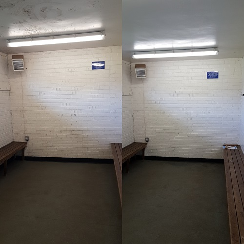 locker room before and after