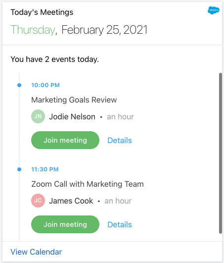 Today's Salesforce events Card