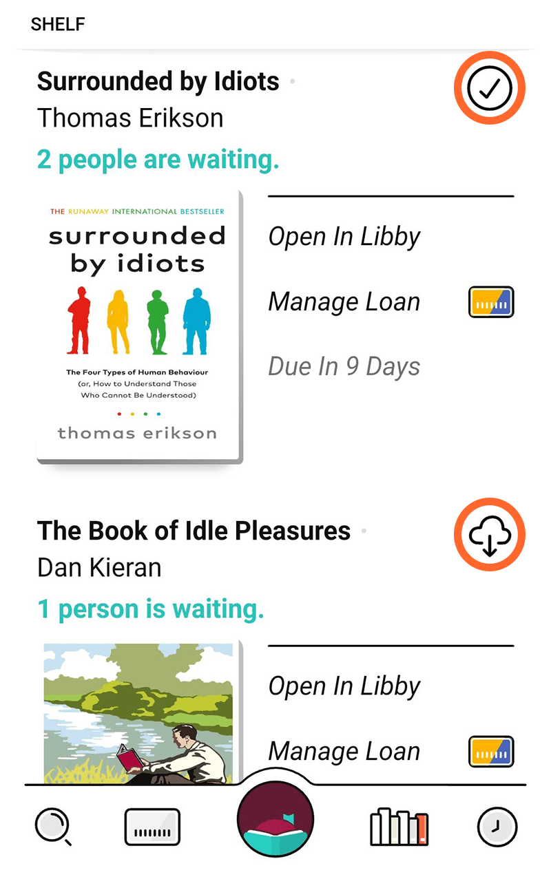 A screenshot of the Libby app, showing books that have been downloaded and those that have not.